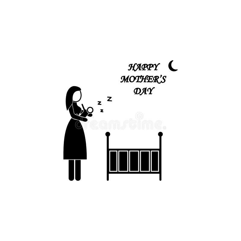 la madre mette l'icona del bambino Elemento del giorno di madre per i apps mobili di web e di concetto La madre dettagliata mette illustrazione vettoriale