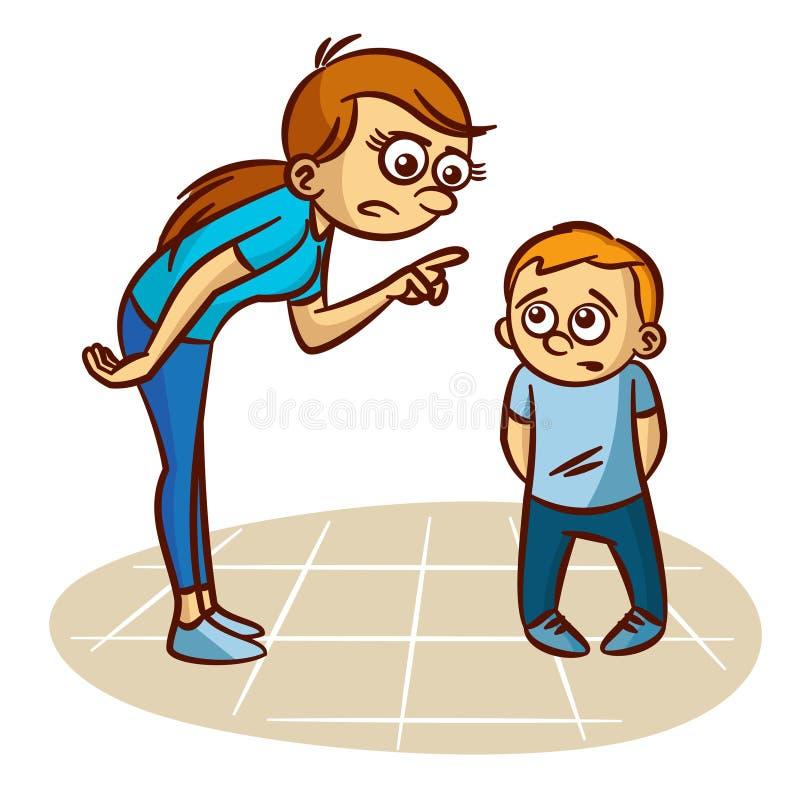 La madre regaña al niño stock de ilustración