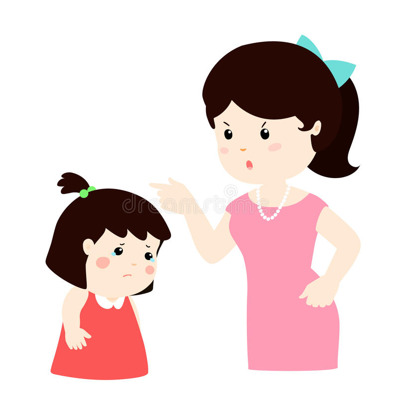 La madre regaña su personaje de dibujos animados de la hija ilustración del vector