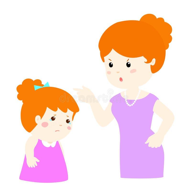 La madre regaña su personaje de dibujos animados de la hija libre illustration