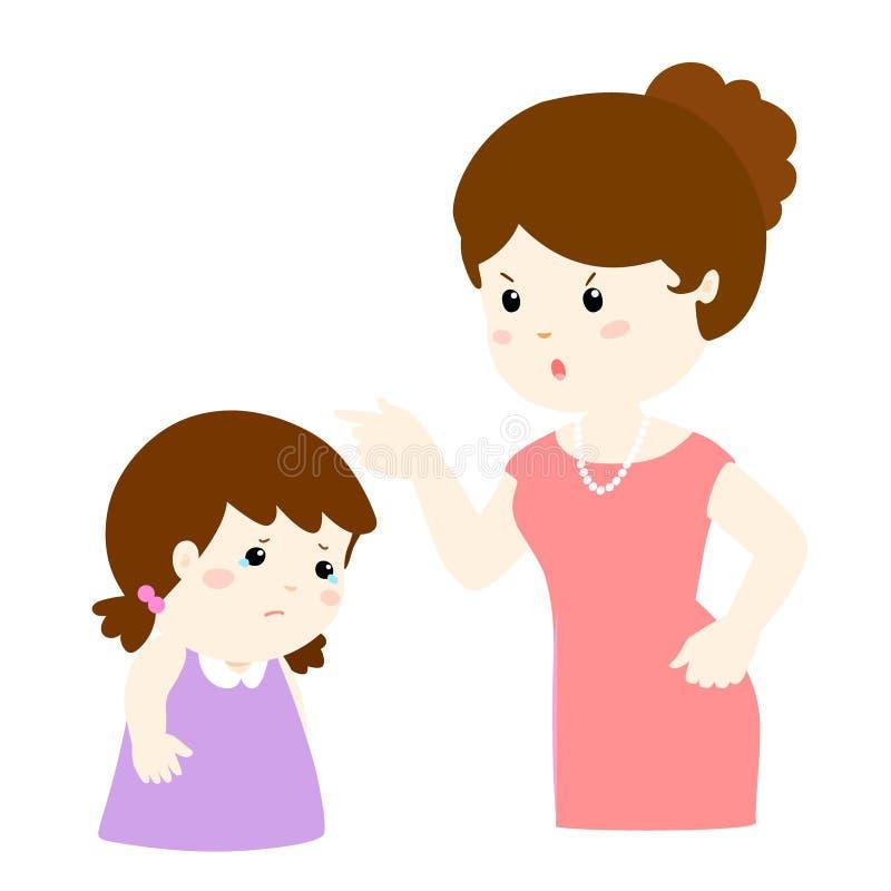 La madre regaña su personaje de dibujos animados de la hija stock de ilustración