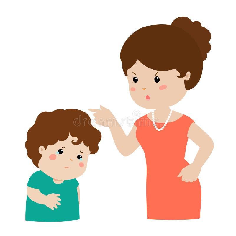 La madre regaña su personaje de dibujos animados del hijo libre illustration