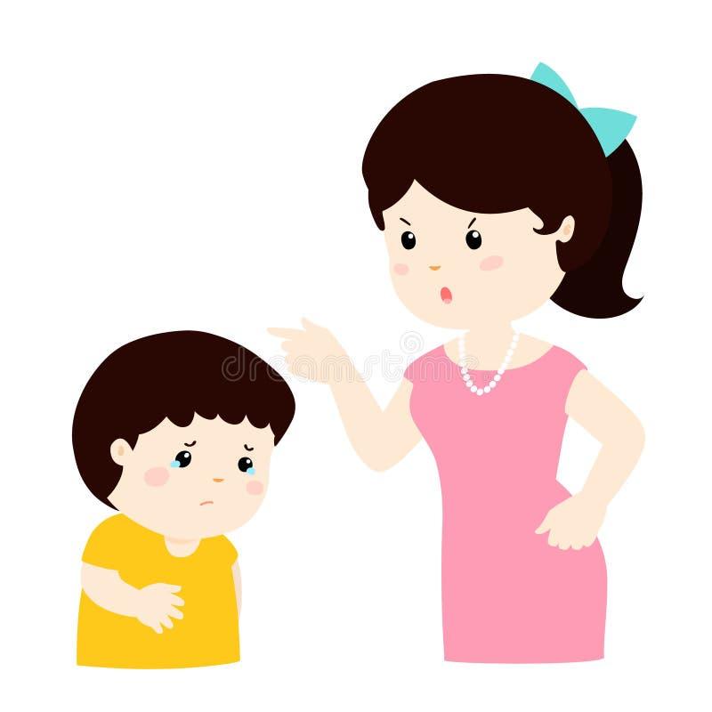 La madre regaña su personaje de dibujos animados del hijo ilustración del vector