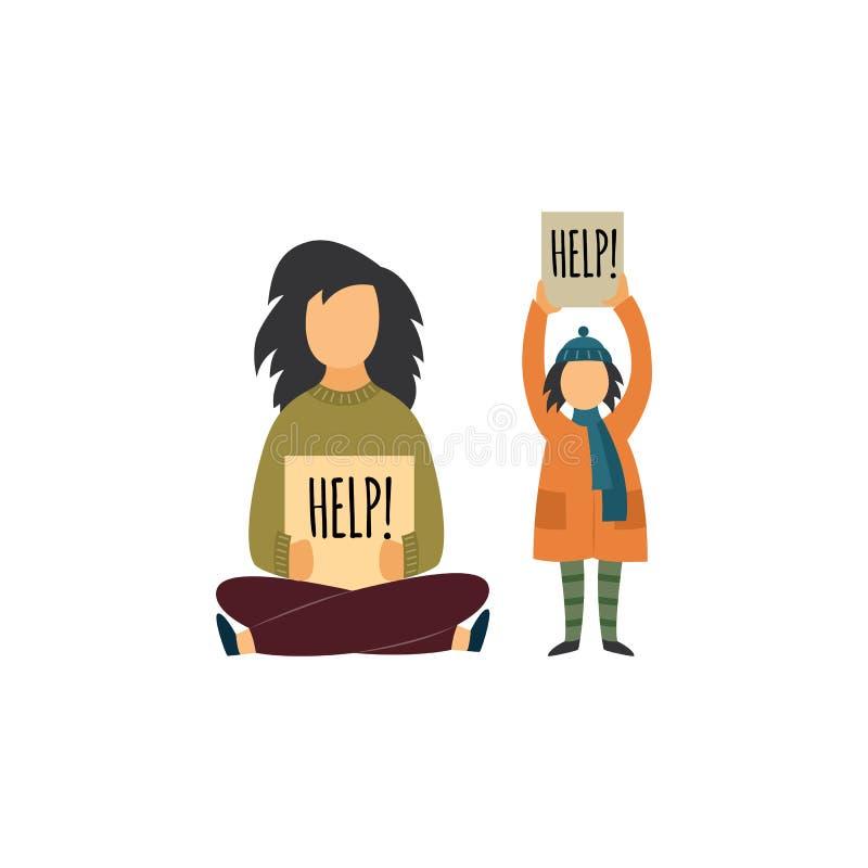 La madre senza tetto con il bambino che richiede l'illustrazione piana di vettore di aiuto ha isolato illustrazione di stock