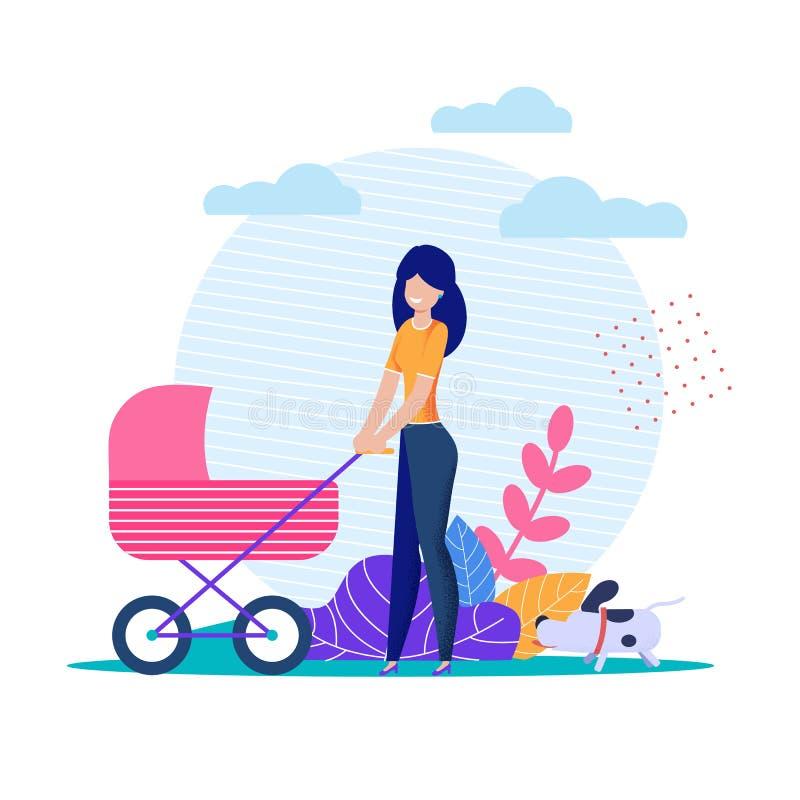 La madre sola joven lleva la historieta del cochecito de bebé ilustración del vector