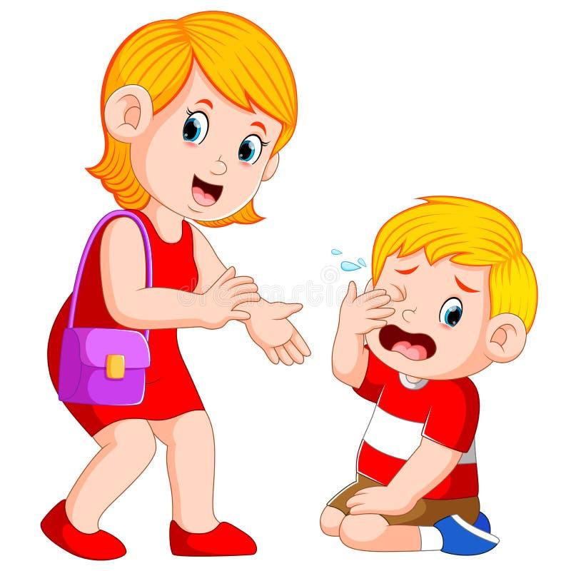 La madre sta provando a calmare il ragazzo che sta gridando illustrazione di stock
