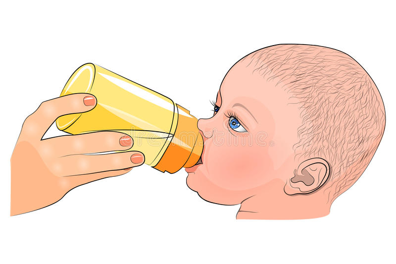 La madre y el niño la leche en la botella libre illustration