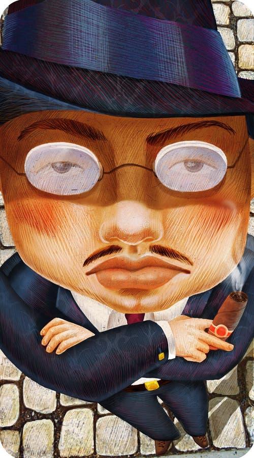 La mafia severa del hombre pone con el ejemplo del dibujo del cigarro ilustración del vector