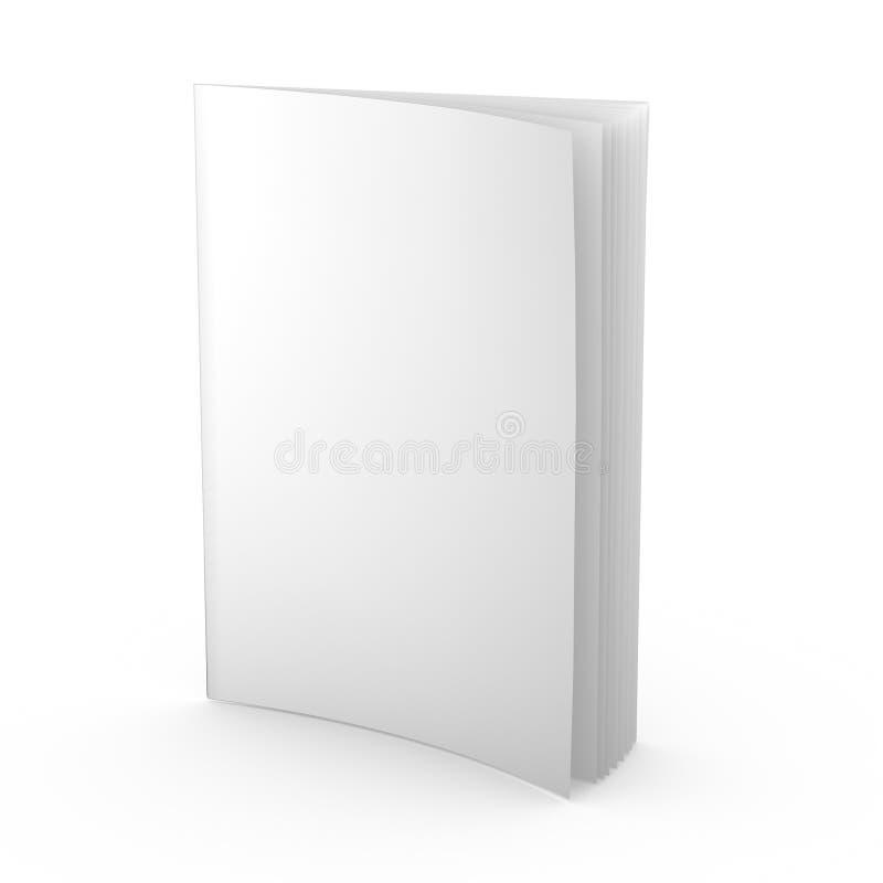 La magazine vide, le journal, le tract ou n'importe quelle publication ont isolé le calibre debout de blanc de l'illustration 3d illustration de vecteur
