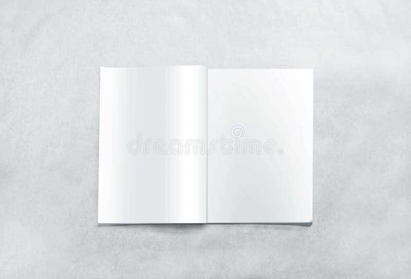 La magazine vide ouverte pagine la maquette, d'isolement sur le fond texturisé photo stock