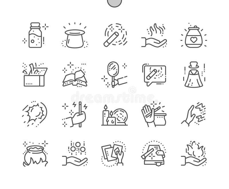 La magia Ben-ha elaborato la linea sottile griglia 2x delle icone 30 di vettore perfetto del pixel per i grafici e Apps di web illustrazione di stock