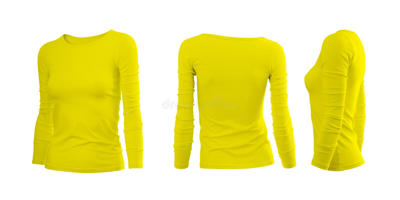 La maglietta della donna grigia gialla fotografie stock