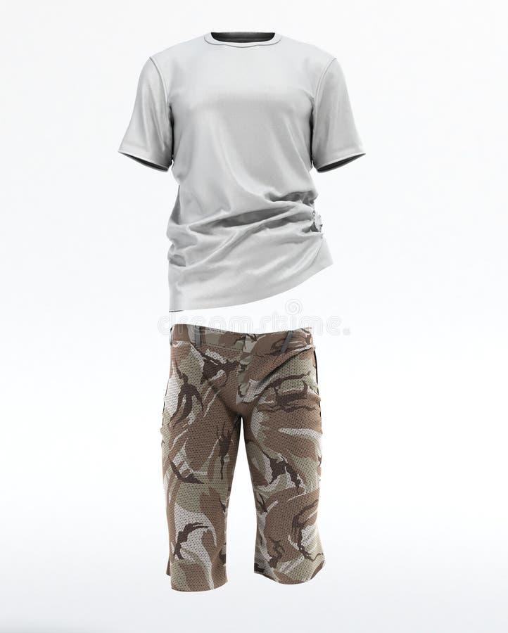 La maglietta e gli shorts 3d rendono su bianco illustrazione vettoriale