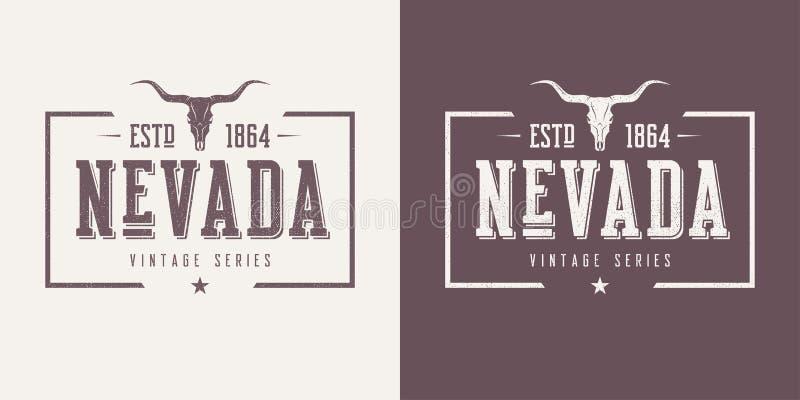 La maglietta e l'abito d'annata di vettore strutturati stato del Nevada progettano, illustrazione vettoriale