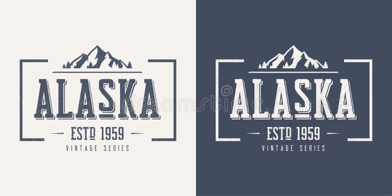 La maglietta e l'abito d'annata di vettore strutturati stato dell'Alaska progettano, royalty illustrazione gratis