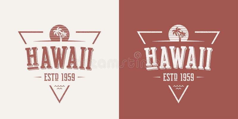 La maglietta e l'abito d'annata di vettore strutturati stato delle Hawai progettano, illustrazione di stock