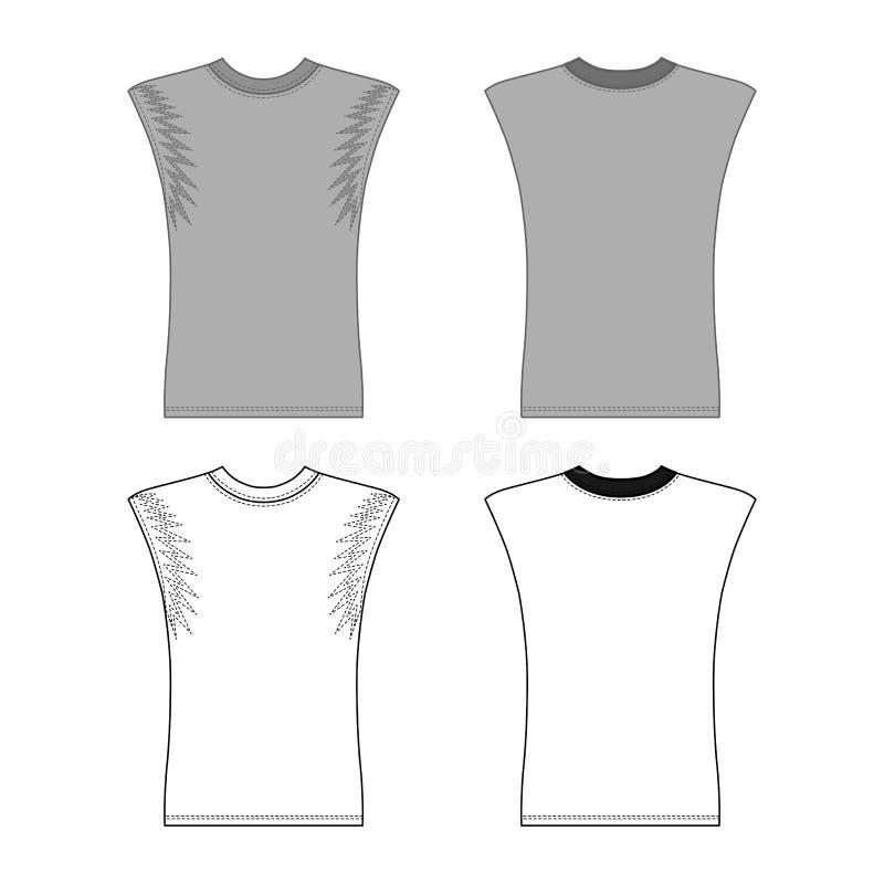 La maglietta senza maniche ha descritto la parte anteriore del modello & la vista posteriore illustrazione di stock