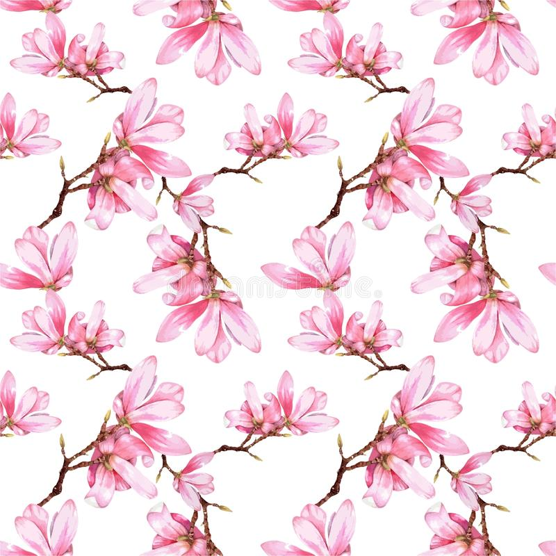 La magnolia d'aquarelle fleurit le modèle sans couture illustration stock