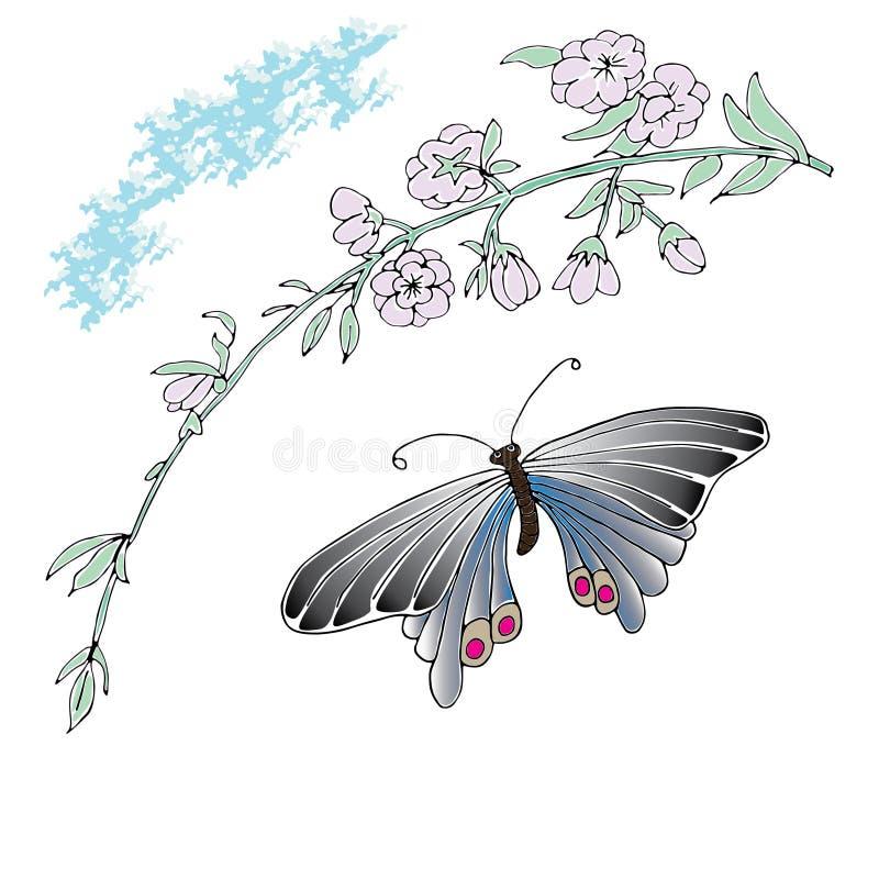 La magnolia et le papillon tirés par la main ont esquissé l'illustration illustration de vecteur