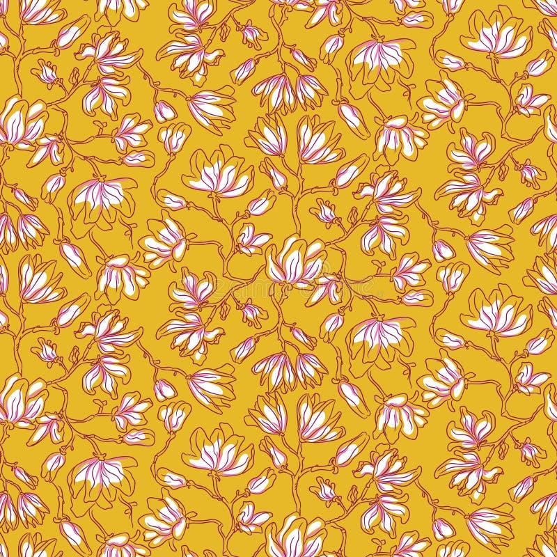 La magnolia florece el modelo inconsútil del vector stock de ilustración