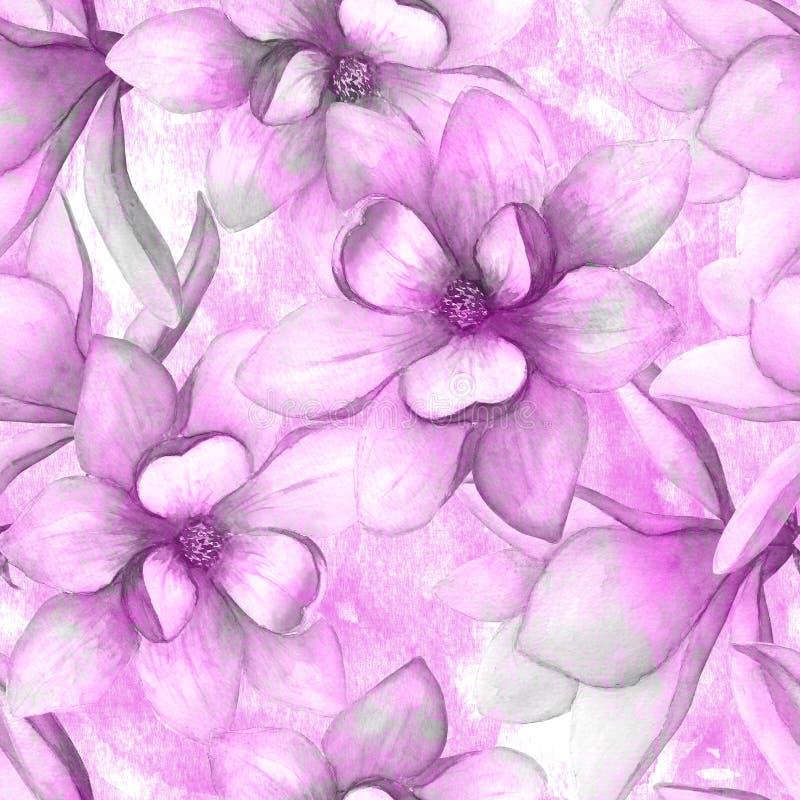 La magnolia hermosa de la acuarela florece el fondo incons?til del modelo Ejemplo bot?nico elegante de la primavera del Watercolo ilustración del vector