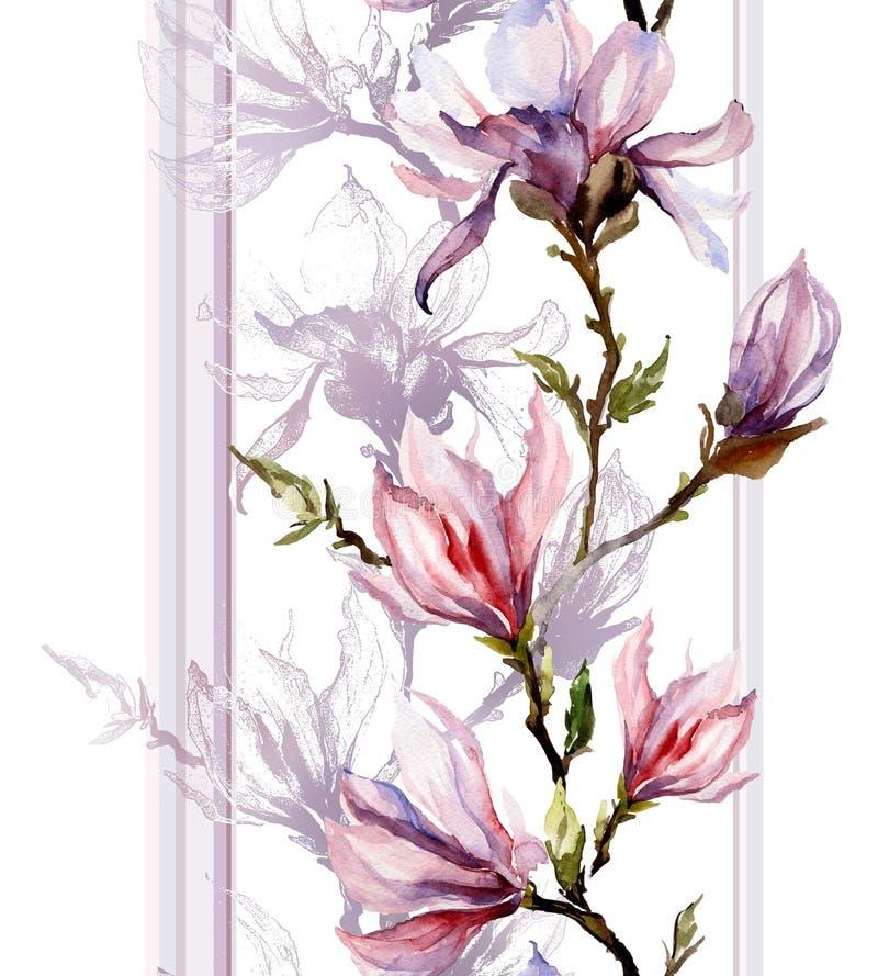 La magnolia rosada florece en una ramita con la sombra y las líneas verticales o ilustración del vector