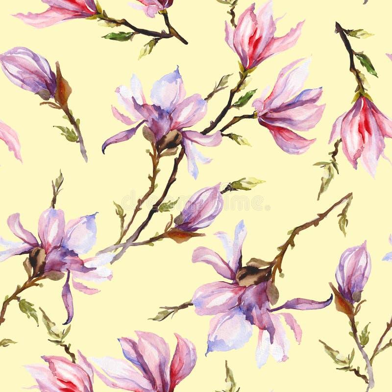 La magnolia rosada florece en una ramita en fondo amarillo claro Modelo inconsútil Pintura de la acuarela Mano drenada libre illustration