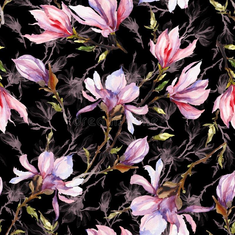 La magnolia rosada florece en una ramita en fondo negro Modelo inconsútil Pintura de la acuarela Mano drenada stock de ilustración