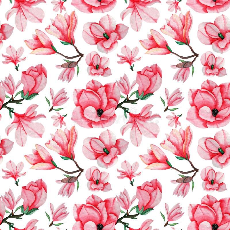La magnolia tirée par la main d'aquarelle fleurit le modèle sans couture pour la fabrication, le papier, le textile et l'impressi illustration stock