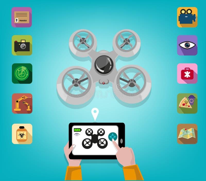 La main actionne un bourdon utilisant une Tablette ou Smartphone avec des icônes des caractéristiques Clipart (images graphiques) illustration stock