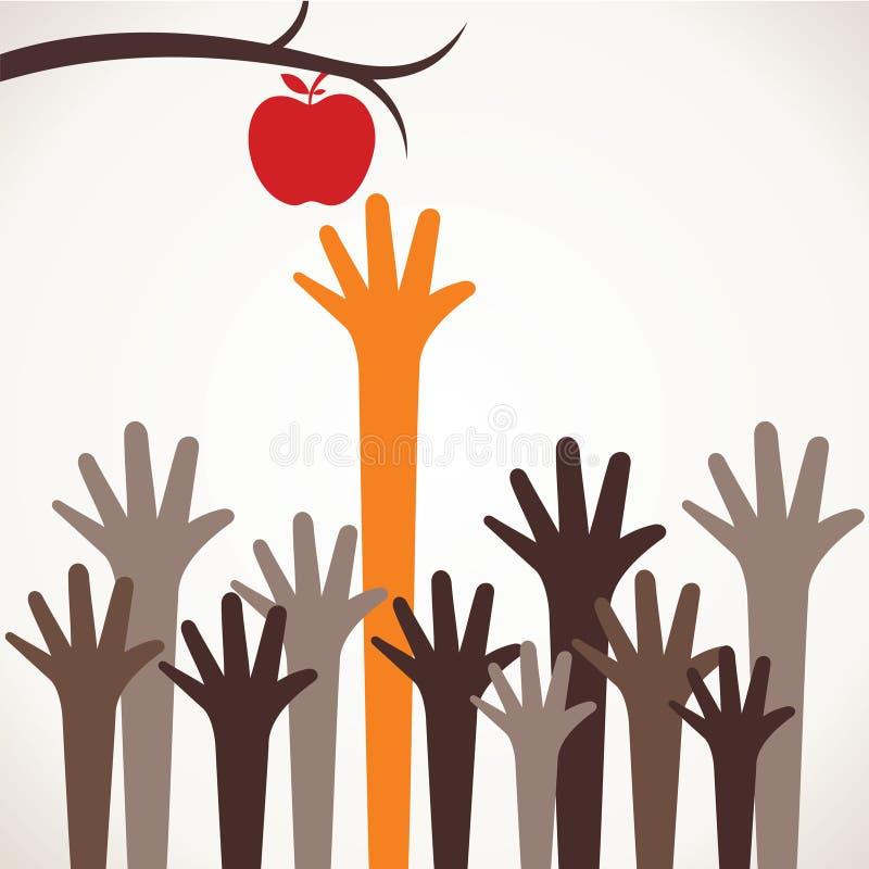 La main augmentent vers le haut pour la pomme illustration stock