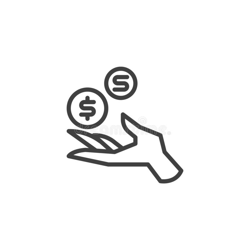 La main avec des pi?ces de monnaie du dollar rayent l'ic?ne illustration stock