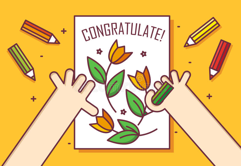 La main avec le crayon dessine une carte avec des fleurs Félicitez ! Amincissez la ligne carte plate de conception Drapeau de vec illustration libre de droits