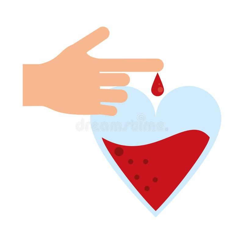 La main avec le sang laisse tomber la campagne de donation illustration de vecteur