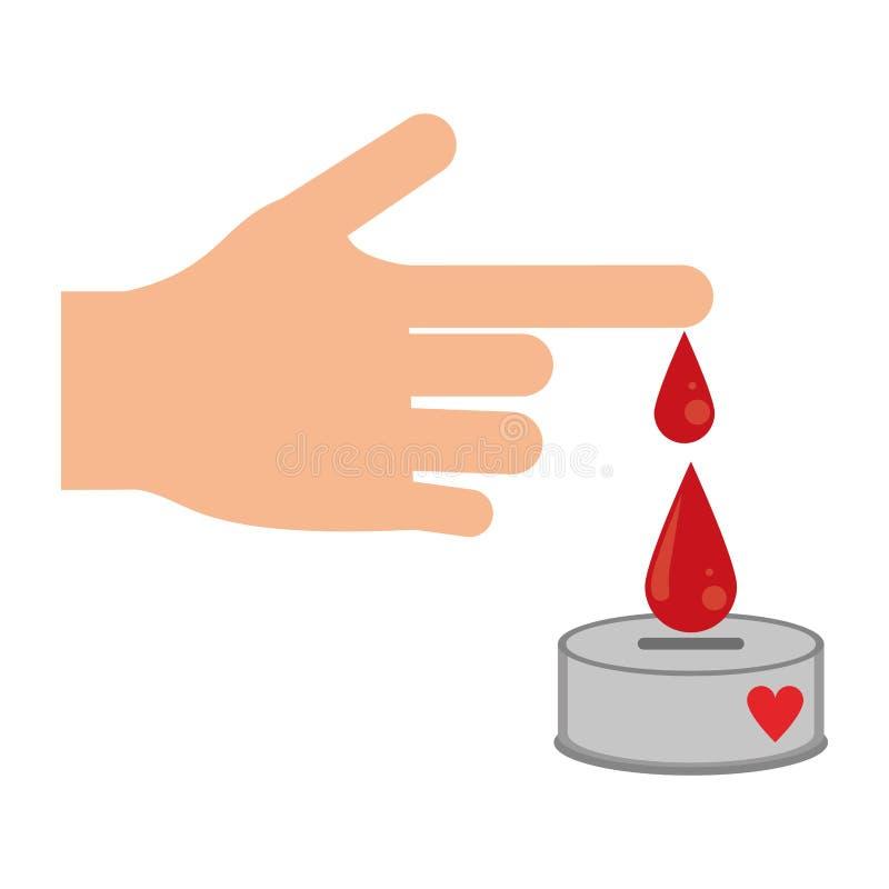 La main avec le sang laisse tomber la campagne de donation illustration stock
