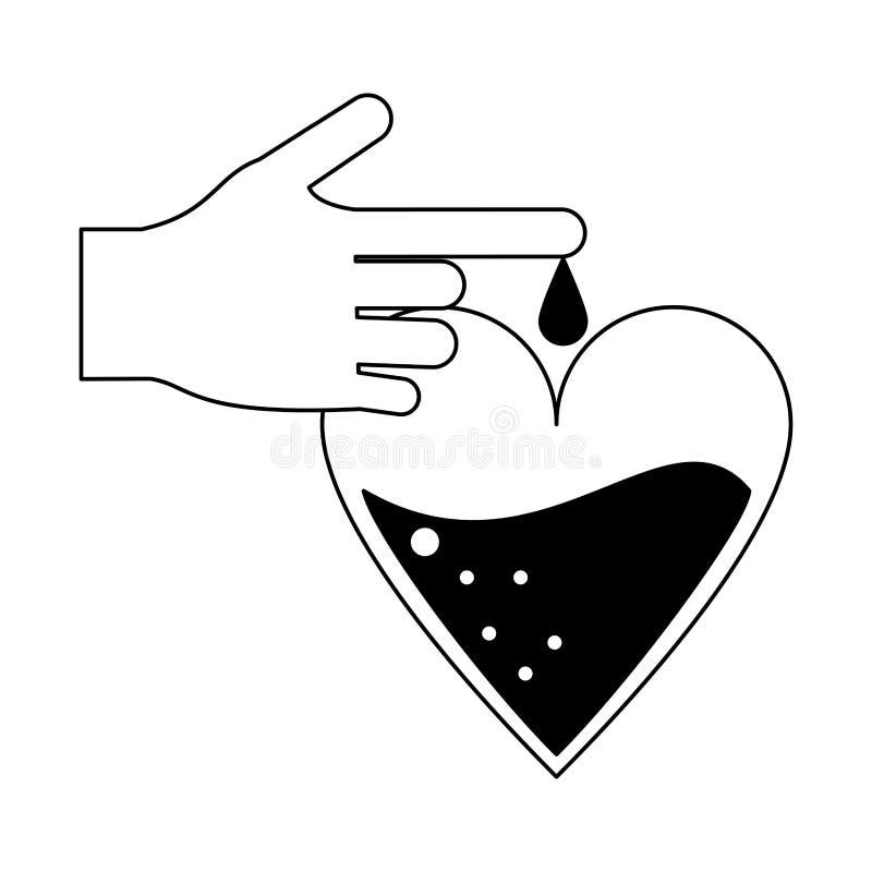 La main avec le sang laisse tomber la campagne de donation en noir et blanc illustration de vecteur