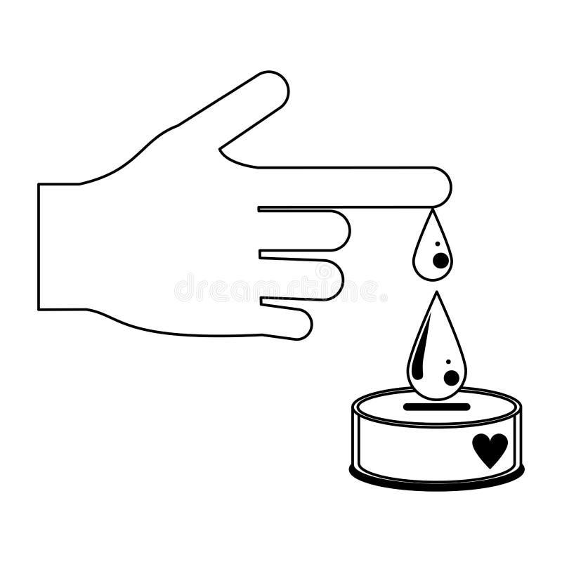 La main avec le sang laisse tomber la campagne de donation en noir et blanc illustration stock