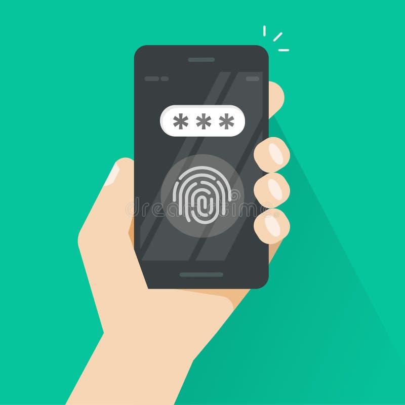 La main avec le smartphone a ouvert avec l'empreinte digitale et le vecteur de champ de mot de passe, concept de sécurité, techno illustration libre de droits