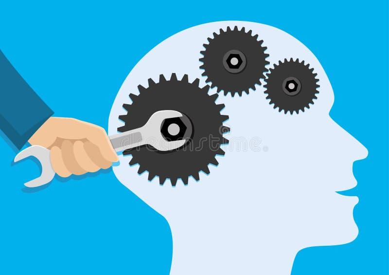 La main avec une clé répare les cerveaux illustration libre de droits