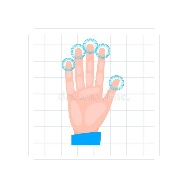 La main balayent tout le mode de sécurité d'empreinte digitale à l'équipement en verre illustration de vecteur
