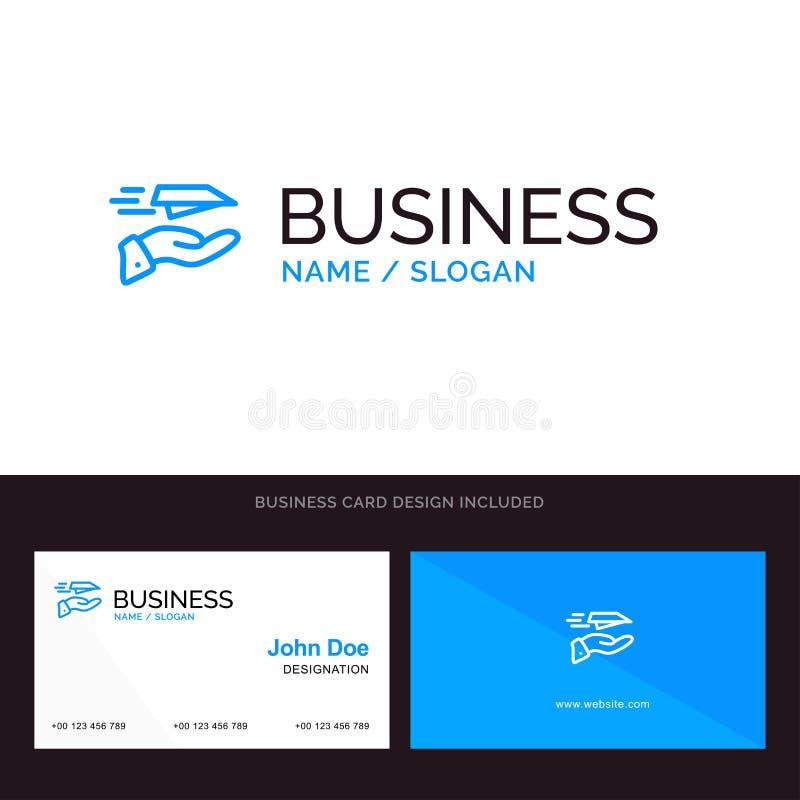 La main, courrier, avion de papier, avion, reçoivent le logo d'affaires et le calibre bleus de carte de visite professionnelle de illustration de vecteur