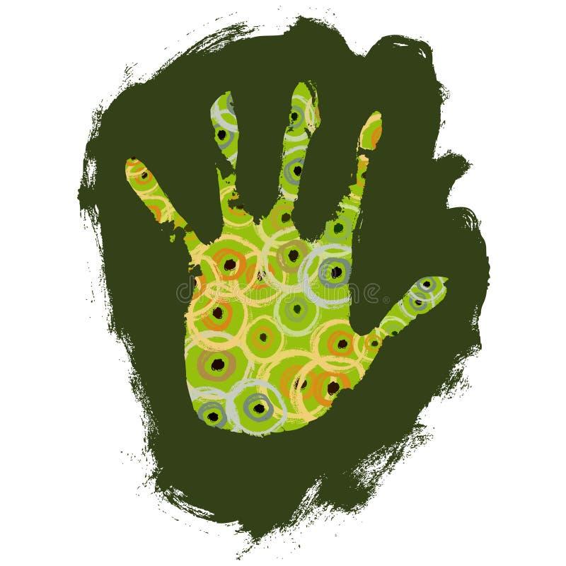 La main a décoré (le vecteur) illustration libre de droits