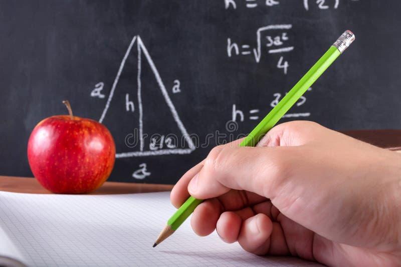 La main d'étudiant masculin écrit dans le carnet avec le stylo en bois vert photographie stock libre de droits