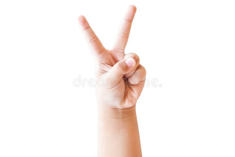 La main d'enfant montre le numéro deux images libres de droits