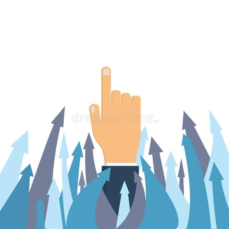 La main d'homme d'affaires indique la direction du succès images libres de droits