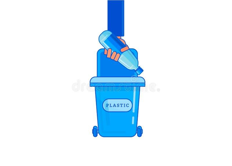 La main d'homme jette des déchets dans les déchets illustration libre de droits