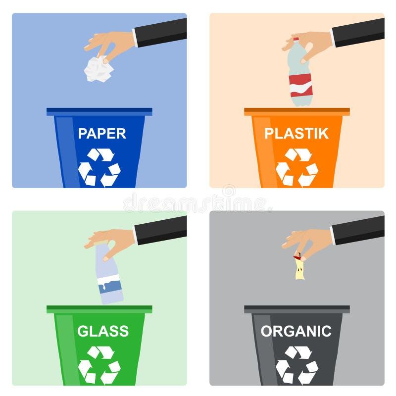 La main d'homme jette des déchets dans un récipient en plastique Main des déchets de lancement de l'homme dans le conteneur organ illustration de vecteur