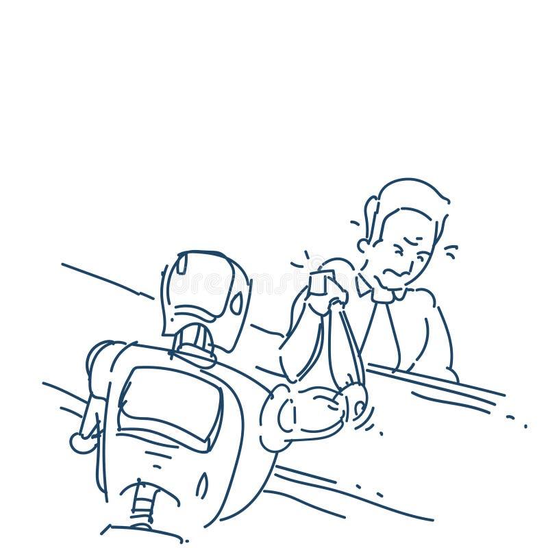 La main d'humain et de robot dans l'action du combat de bras de fer au-dessus du croquis blanc de fond gribouillent illustration libre de droits