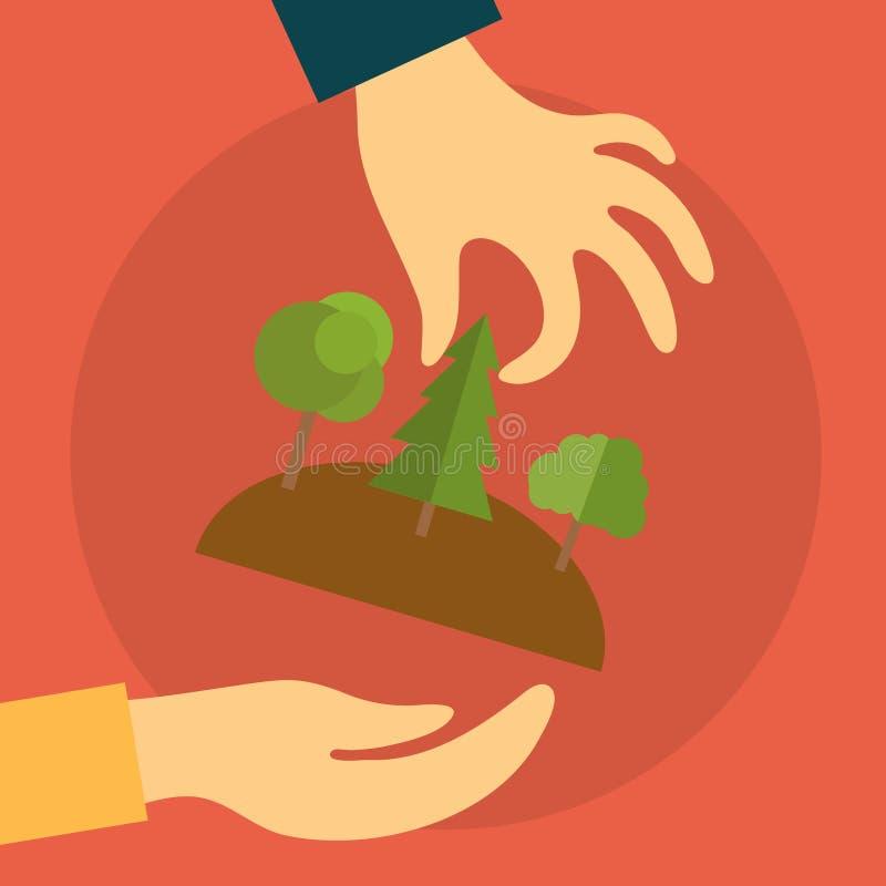 La main d'un agent immobilier se prolonge à l'acheteur de la terre illustration de vecteur