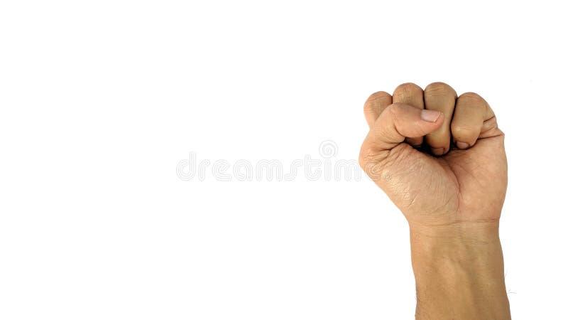 La main d'un homme avec un symbole sur le fond blanc, la main masculine montre le poing images stock